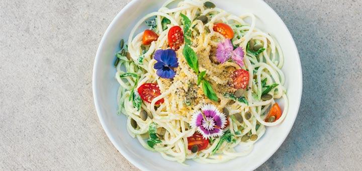 Zucchini Pasta With Basil Hemp Seed Sauce